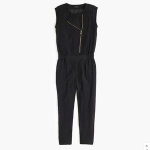 J. Crew Black Asymmetrical Zip Jumpsuit Size 6